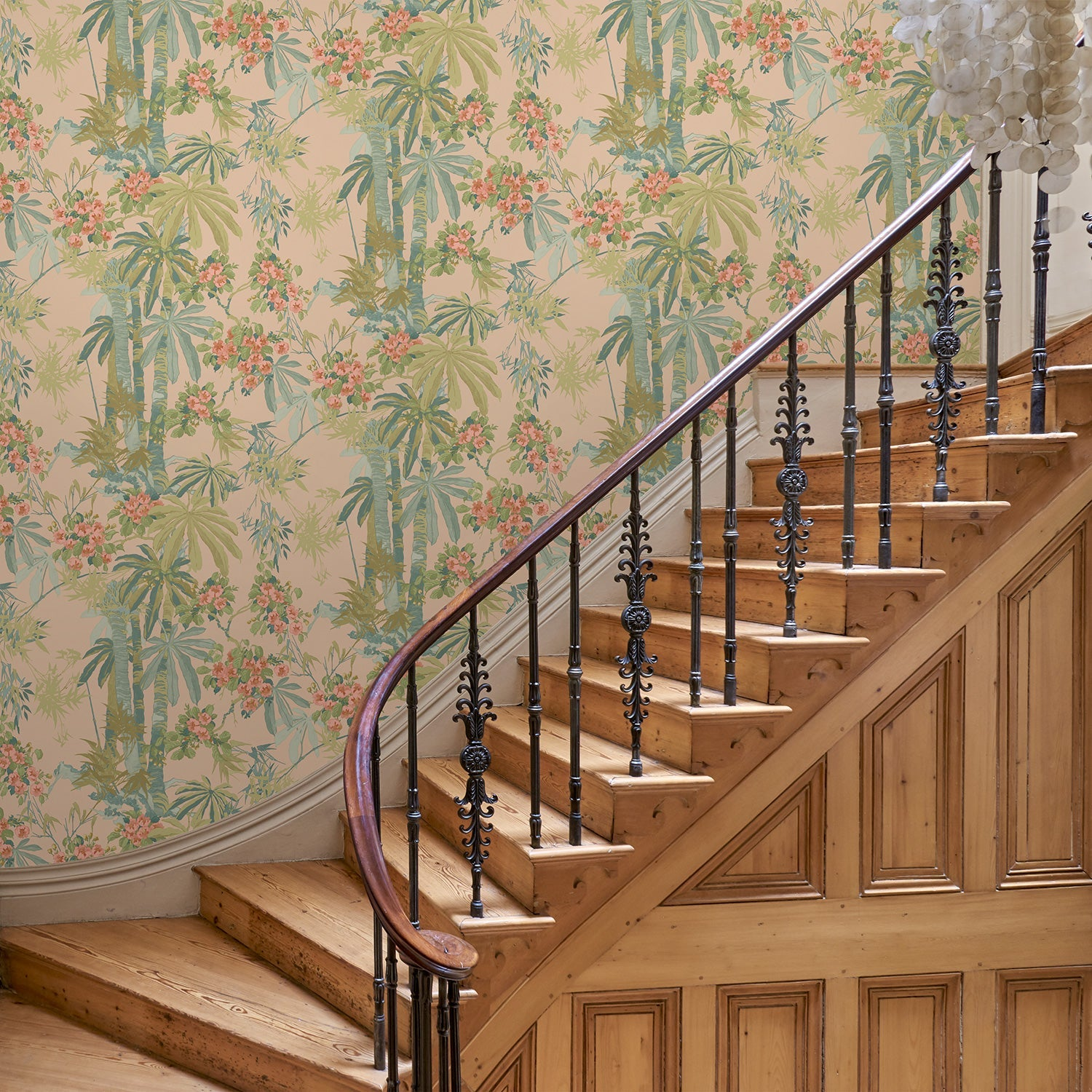 Hallway featuring a Designer wallpaper with a pink tropical palm tree design