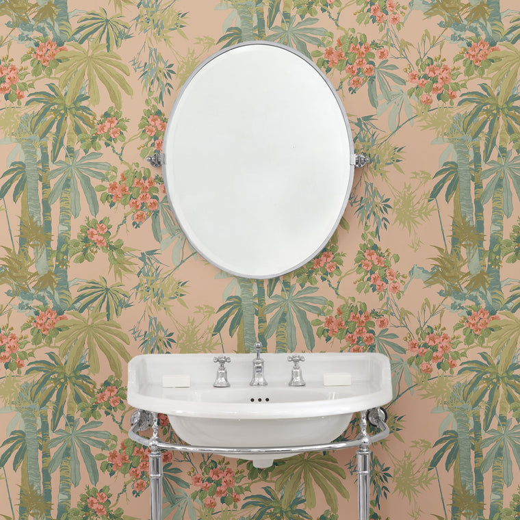 Bathroom featuring a Designer wallpaper with a pink tropical palm tree design
