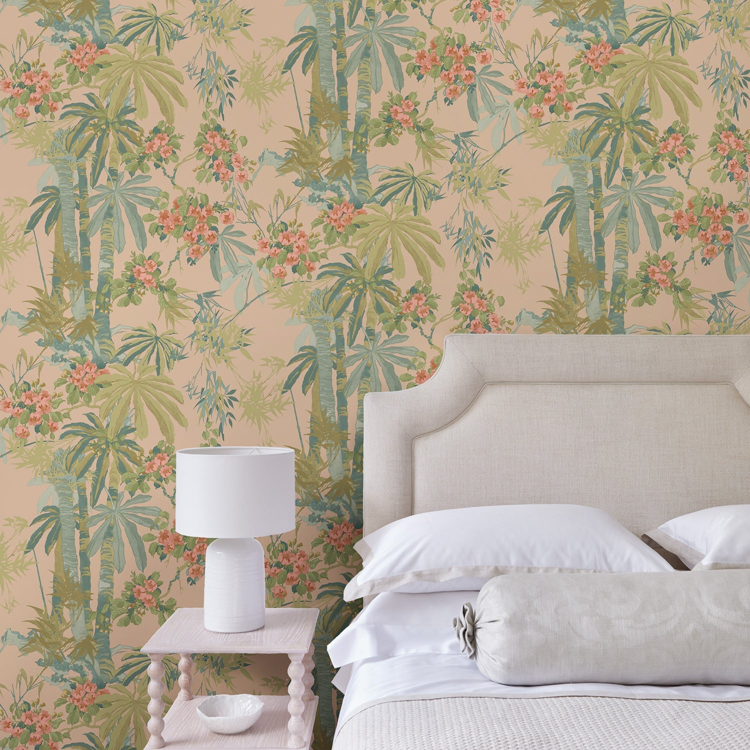 Bedroom featuring a Designer wallpaper with a pink tropical palm tree design