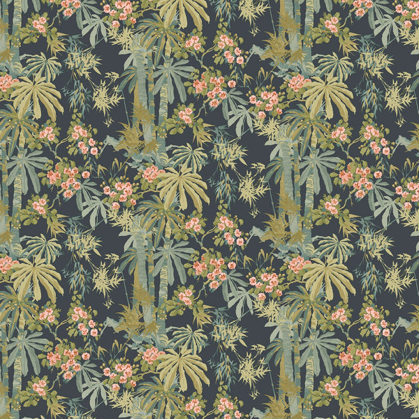 Tropical wallpaper for walls with dark blue background and green palm trees