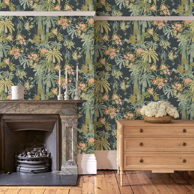 Sitting room featuring a Tropical wallpaper for walls with dark blue background and green palm trees