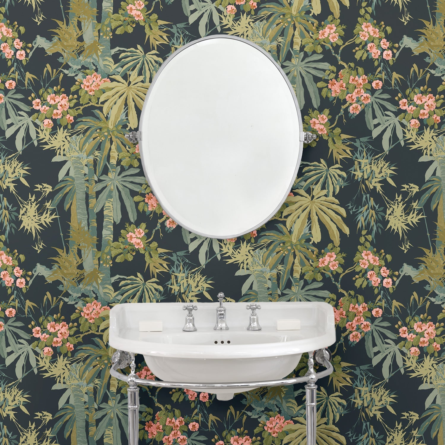 Bathroom featuring a Tropical wallpaper for walls with dark blue background and green palm trees
