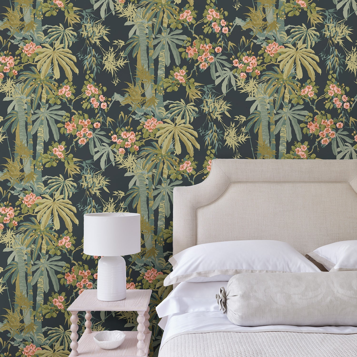 Bedroom featuring a Tropical wallpaper for walls with dark blue background and green palm trees