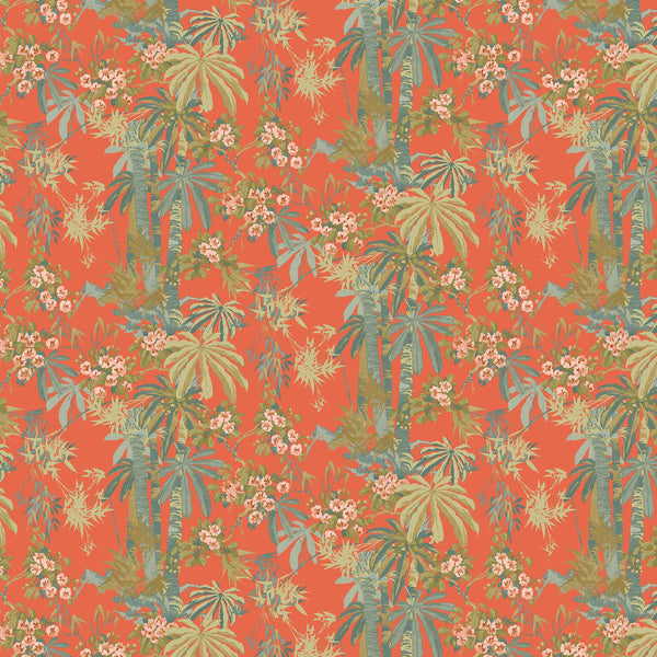 Tropical wallpaper for walls with bright orange background and green palm trees