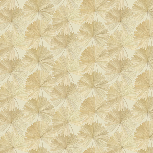 Wallpaper in neutral colours with a tropical palm leaf design