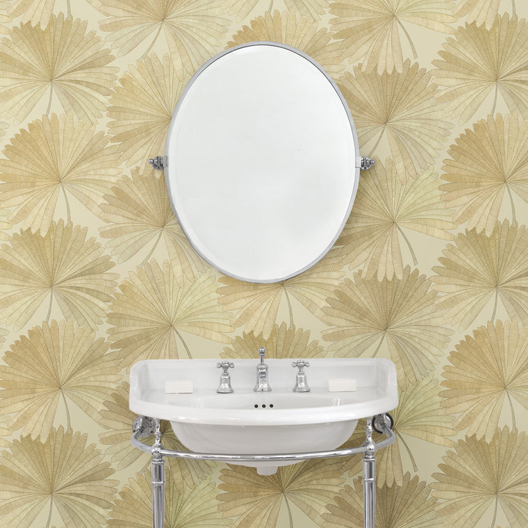 Bathroom featuring a Wallpaper in neutral colours with a tropical palm leaf design