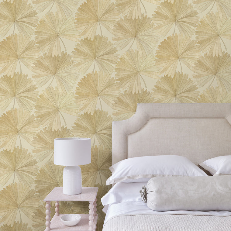 Bedroom featuring a Wallpaper in neutral colours with a tropical palm leaf design