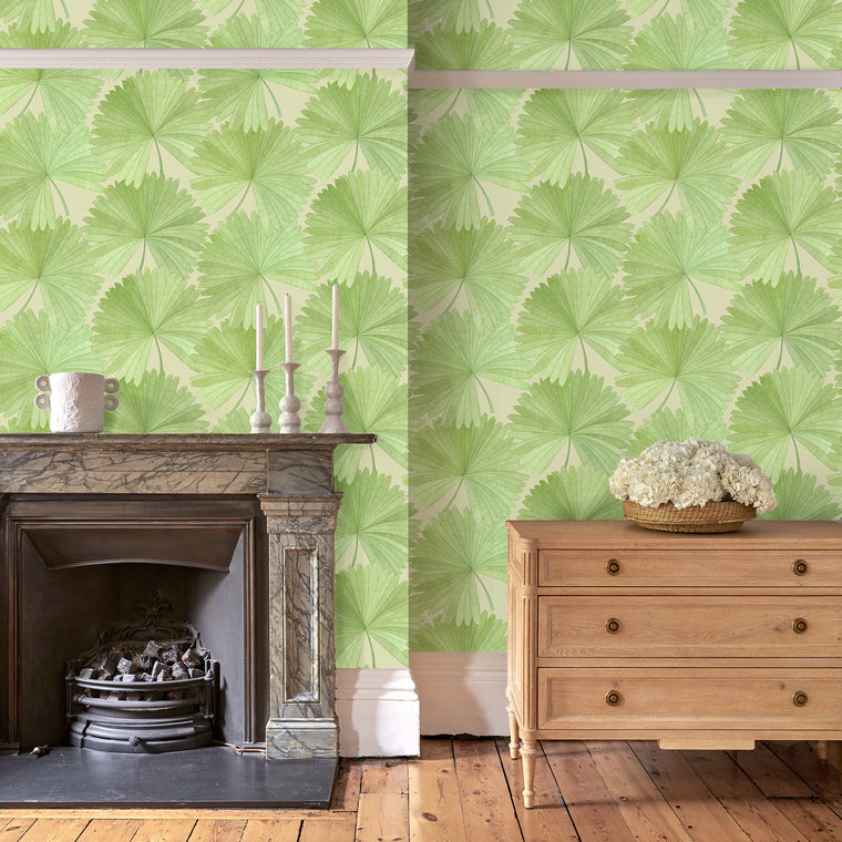 Living room featuring a Luxury wallpaper featuring a tropical palm design in green colours