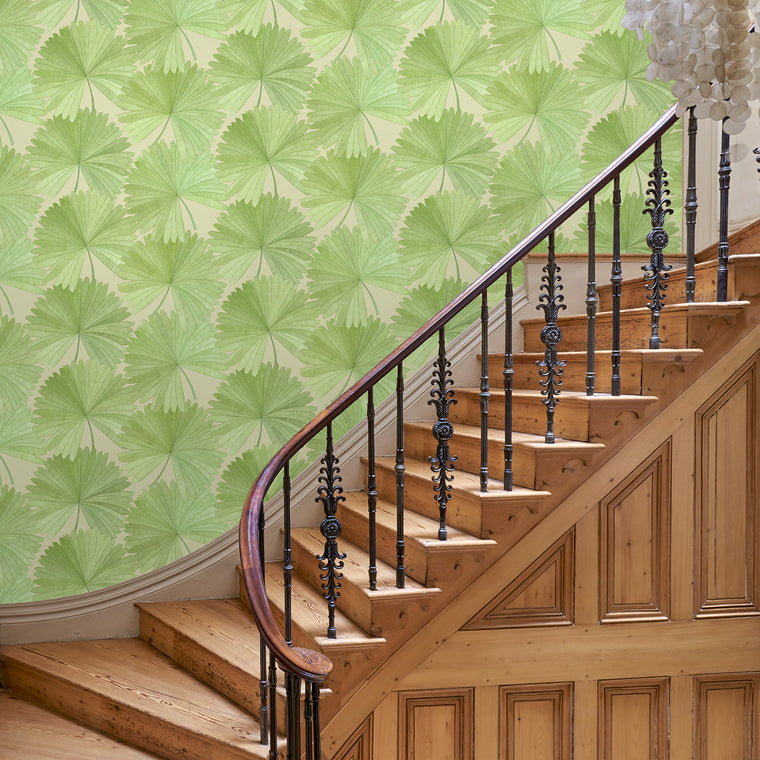Hallway featuring a Luxury wallpaper featuring a tropical palm design in green colours