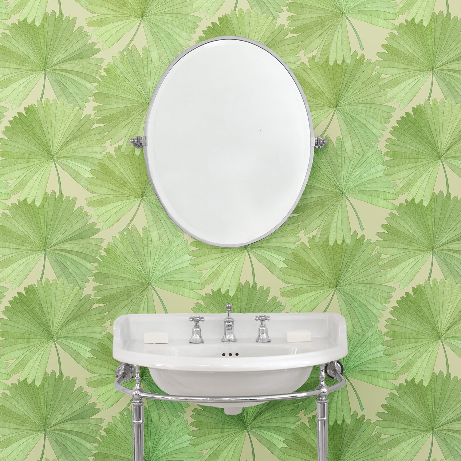 Bathroom featuring a Luxury wallpaper featuring a tropical palm design in green colours