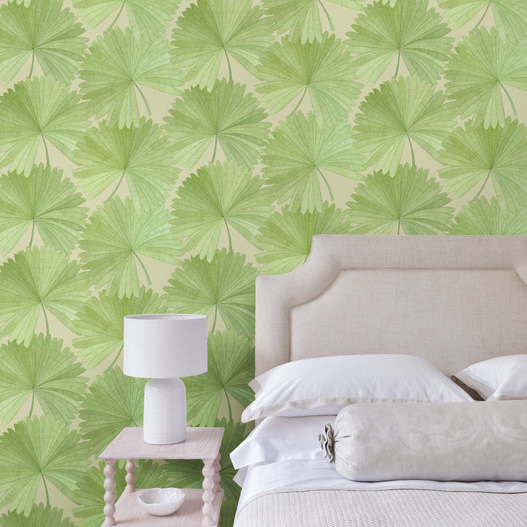 Bedroom featuring a Luxury wallpaper featuring a tropical palm design in green colours