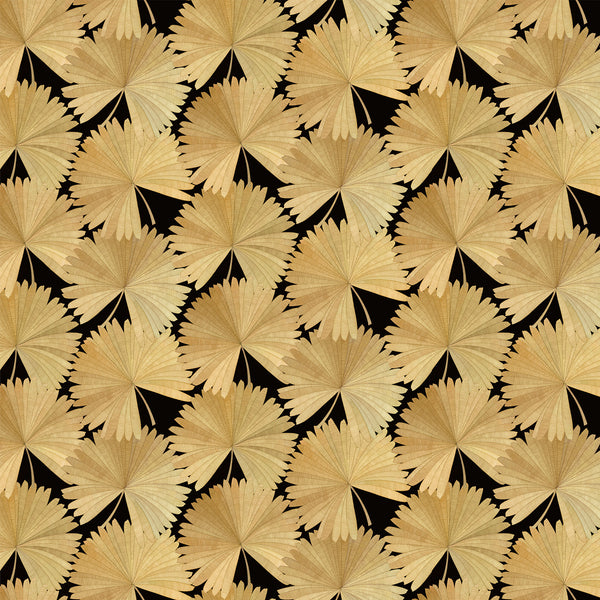 Luxury wallpaper featuring a tropical palm design in dark colours