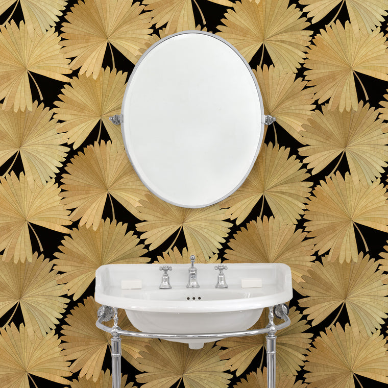 Bathroom featuring a Luxury wallpaper featuring a tropical palm design in dark colours