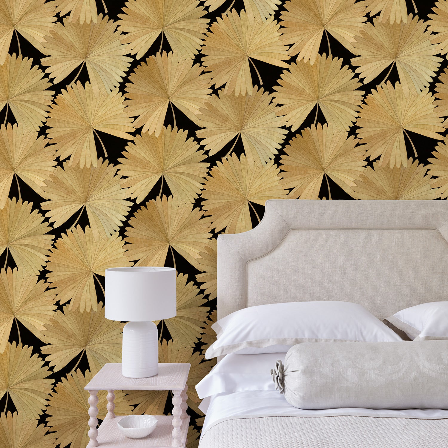 Bedroom featuring a Luxury wallpaper featuring a tropical palm design in dark colours