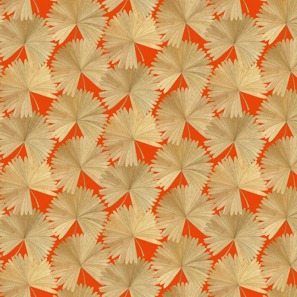 Luxury wallpaper featuring a tropical palm design in orange colours