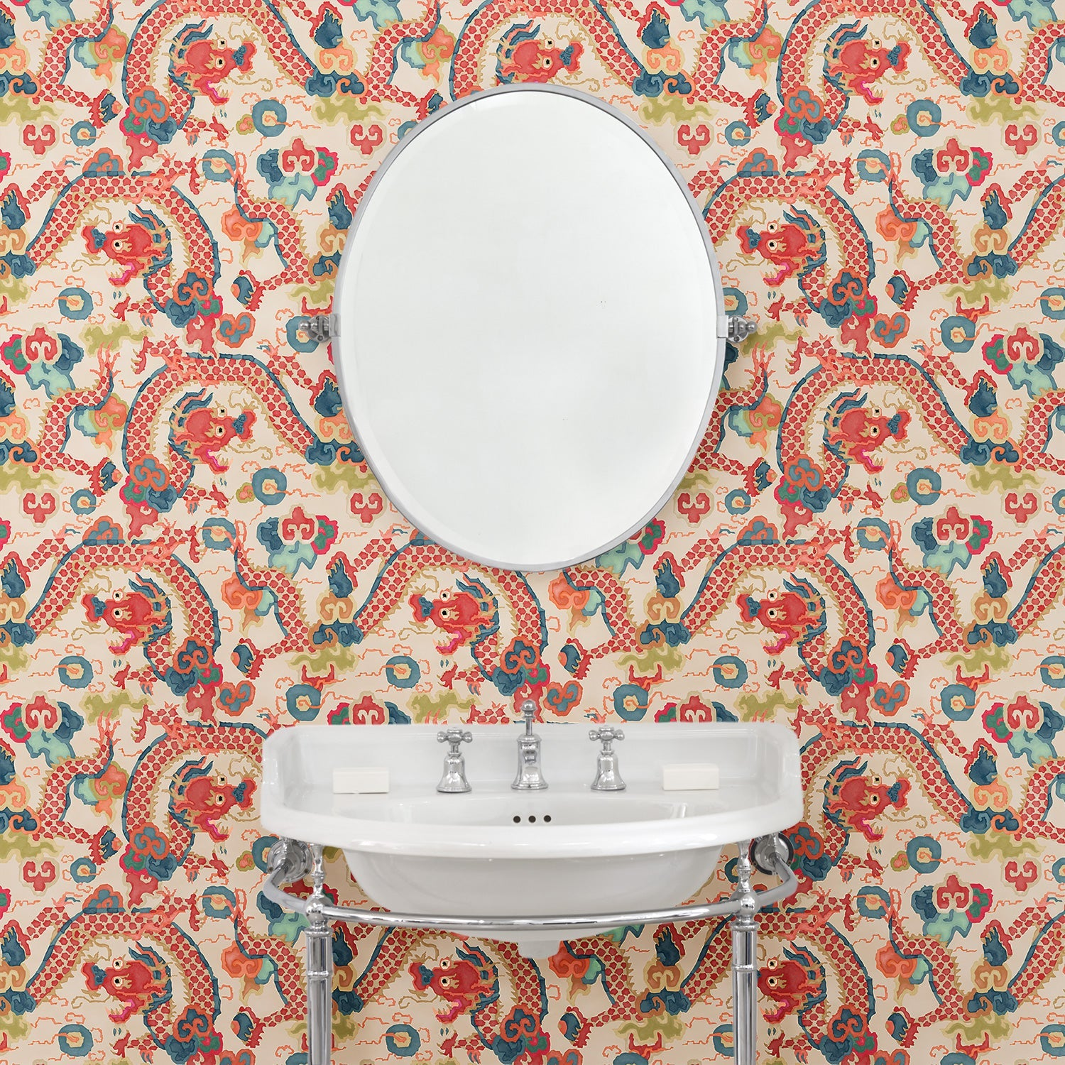 Bathroom with luxury designer wallpaper with dragon design
