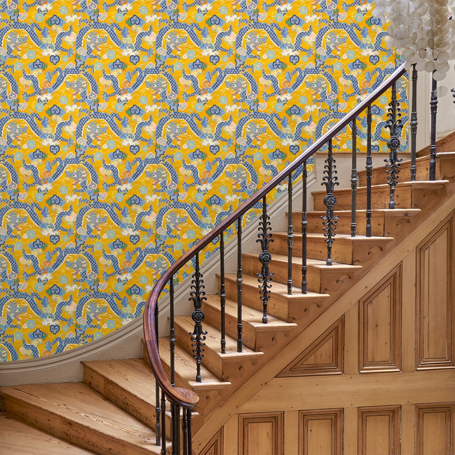 Hallway with a statement design wallpaper with dragon design