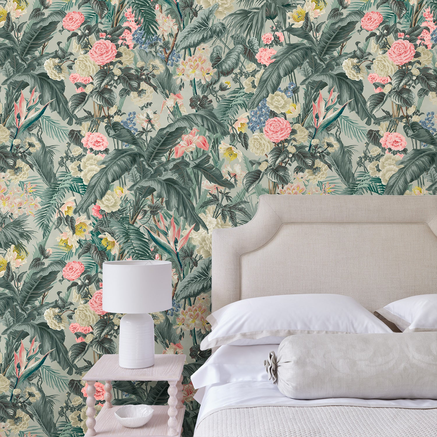 Bedroom with a luxury designer wallpaper featuring a tropical design