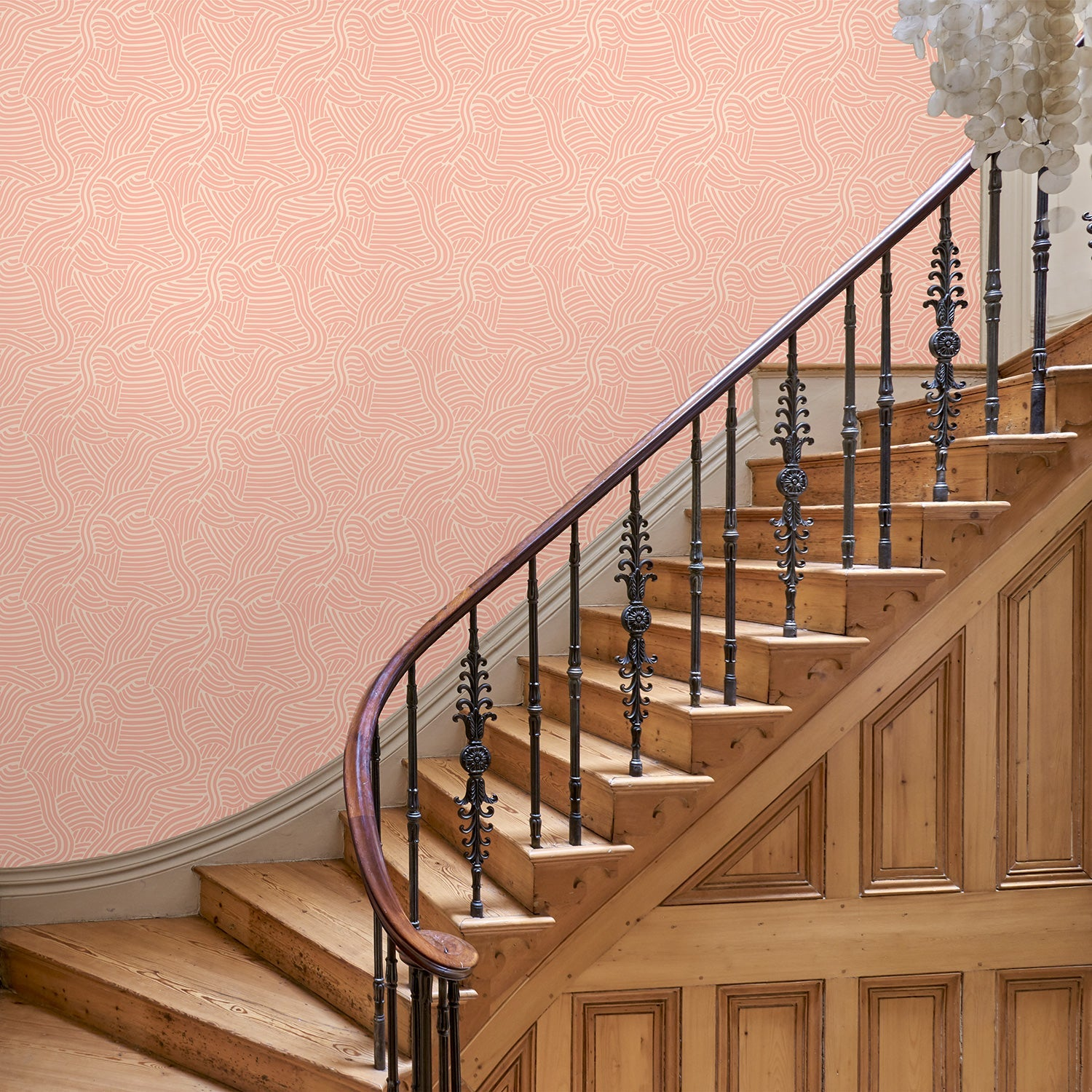 Hallway featuring a Luxury pink wallpaper with an abstract wave design