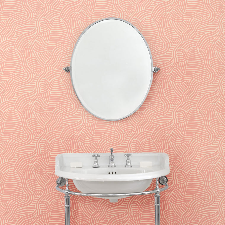 Bathroom featuring a Luxury pink wallpaper with an abstract wave design