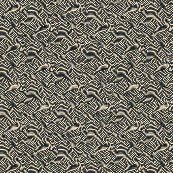 Monochrome wallpaper for walls with abstract wiggly design