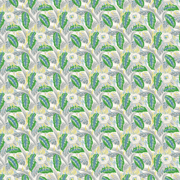 Luxury designer wallpaper with a green floral design