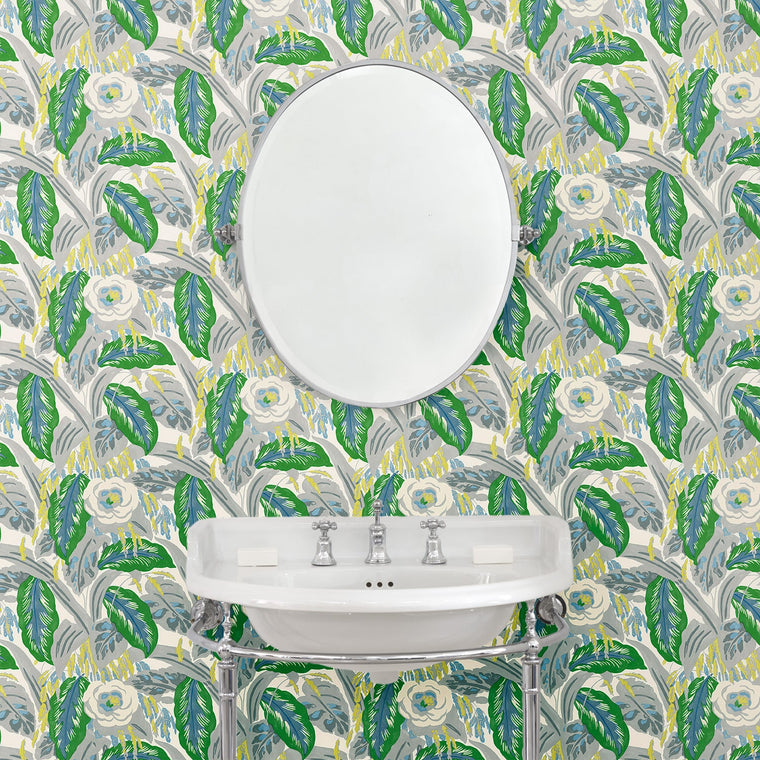 Bathroom featuring a luxury designer wallpaper with a green floral design