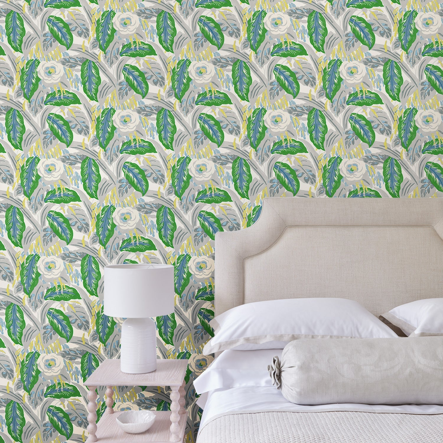 Bedroom featuring a luxury designer wallpaper with a green floral design
