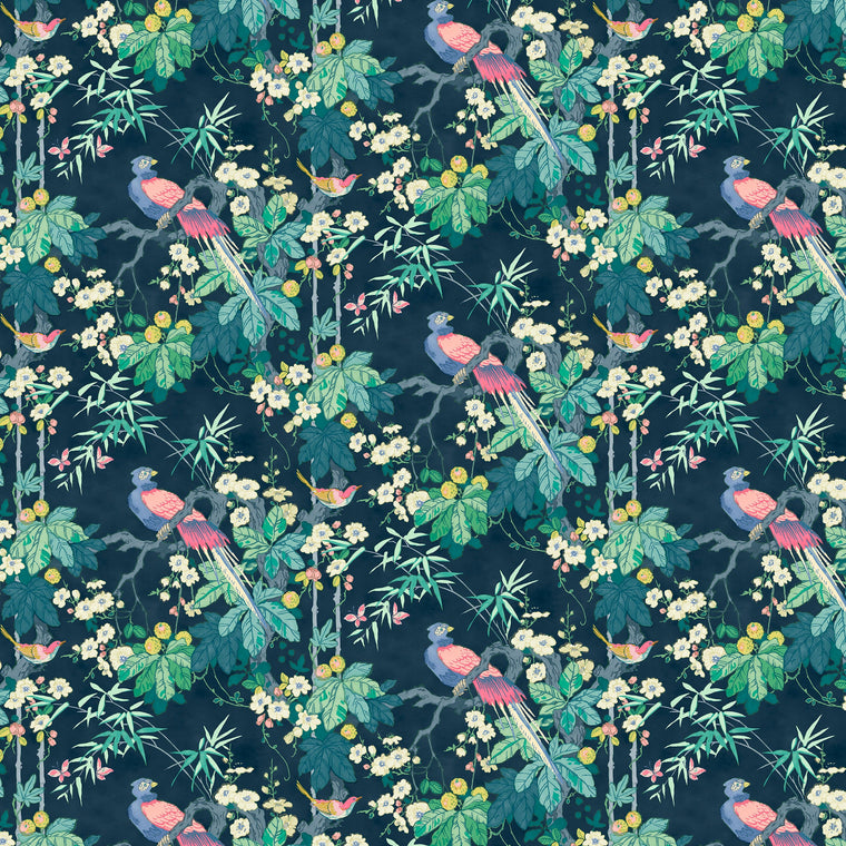 Luxury designer wallpaper with a bird and floral design