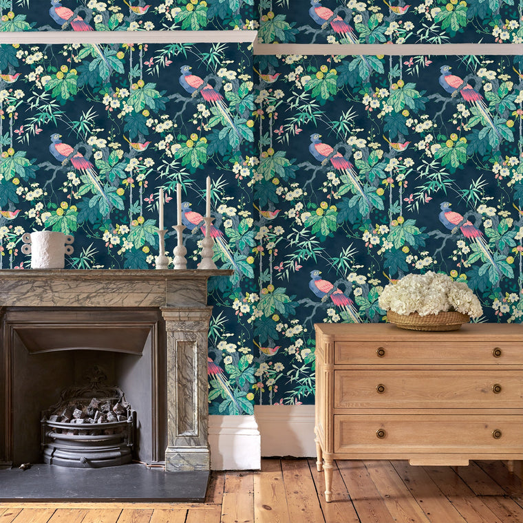Sitting room featuring a luxury designer wallpaper with a bird and floral design