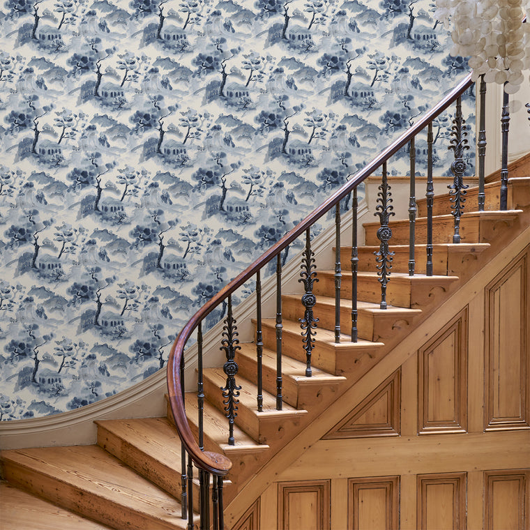 Hallway featuring a luxury designer wallpaper with a abstract oriental design