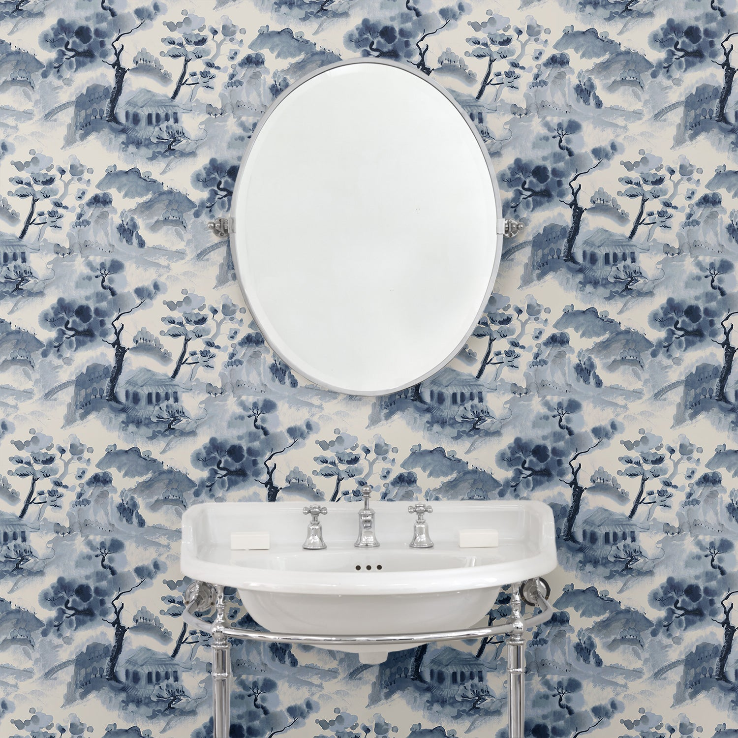 Bathroom with a luxury designer wallpaper with a abstract oriental design