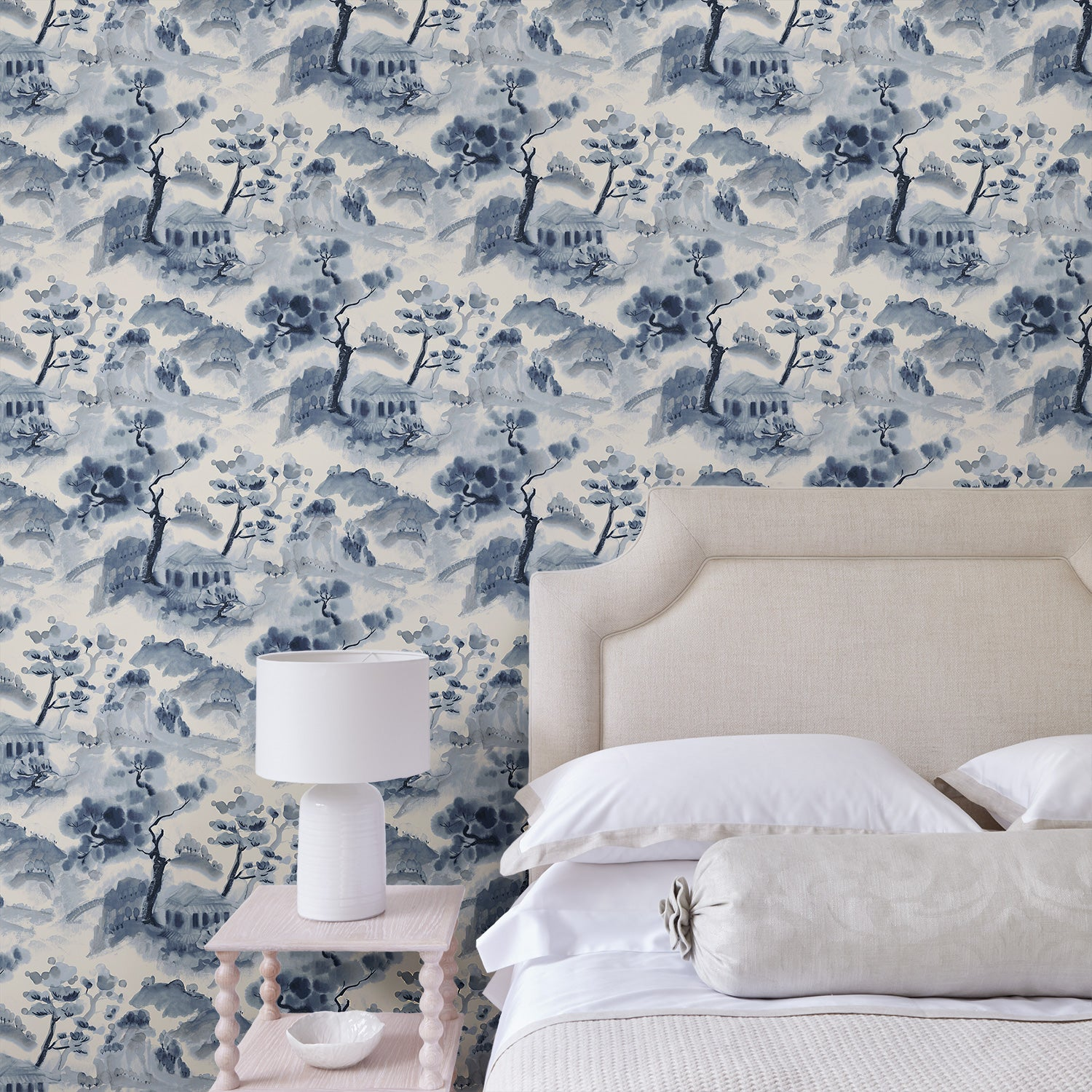 Bedroom featuring a luxury designer wallpaper with oriental design