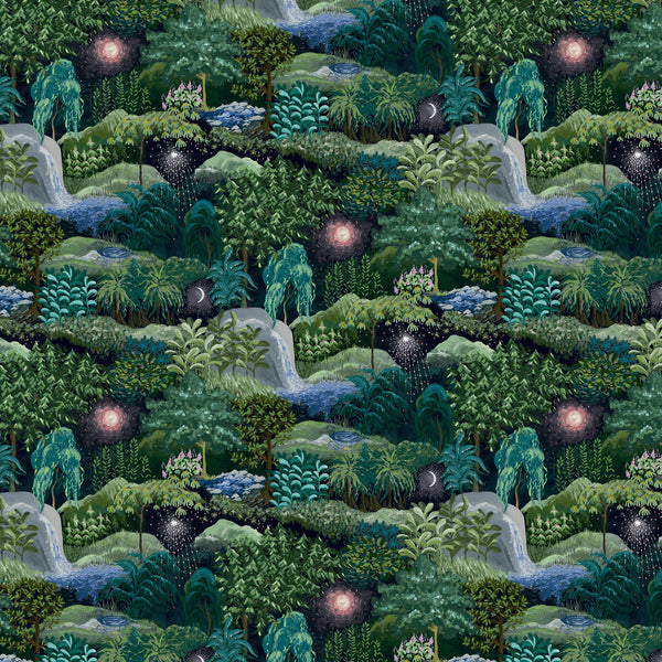 Luxury designer wallpaper with a beautiful painted night-time forest design