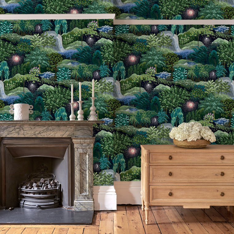 Living room with a luxury designer wallpaper featuring a night-time forest design