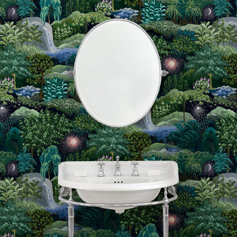 Bathroom featuring a luxury designer wallpaper with a night-time forest design