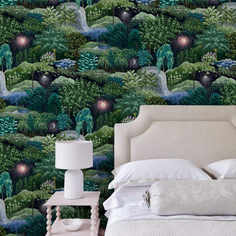 Bedroom featuring a luxury designer wallpaper with a night-time forest design