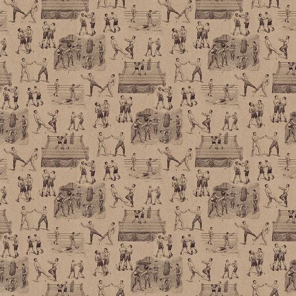 Wallpaper featuring a vintage illustrated boxing scene