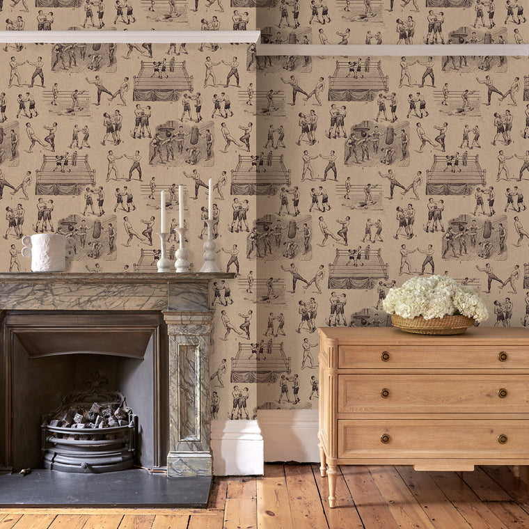 Living room featuring a Wallpaper featuring a vintage illustrated boxing scene