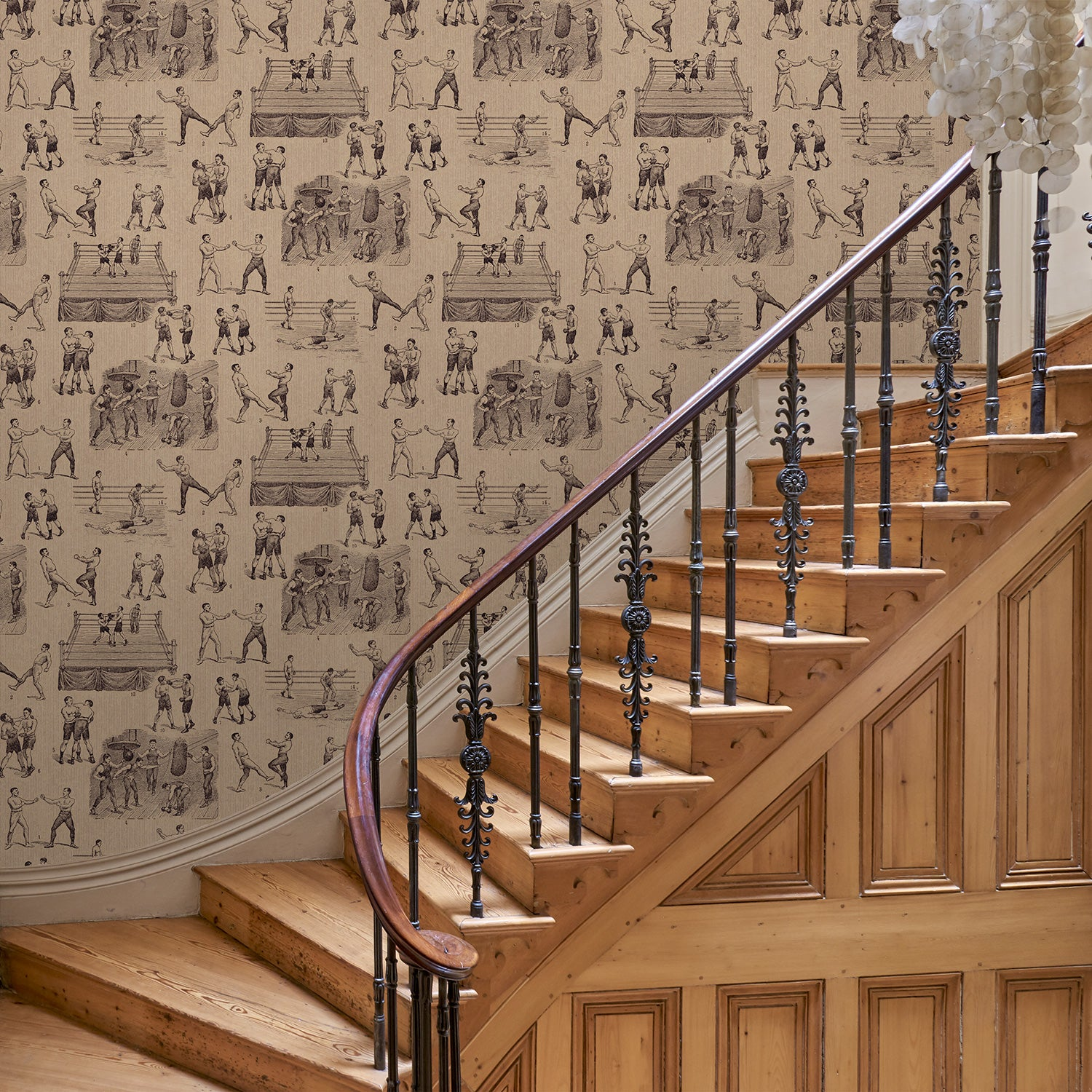 Hallway featuring a Wallpaper featuring a vintage illustrated boxing scene