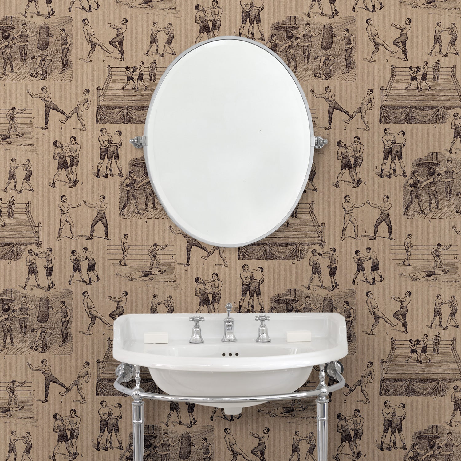 Bathroom featuring a Wallpaper featuring a vintage illustrated boxing scene