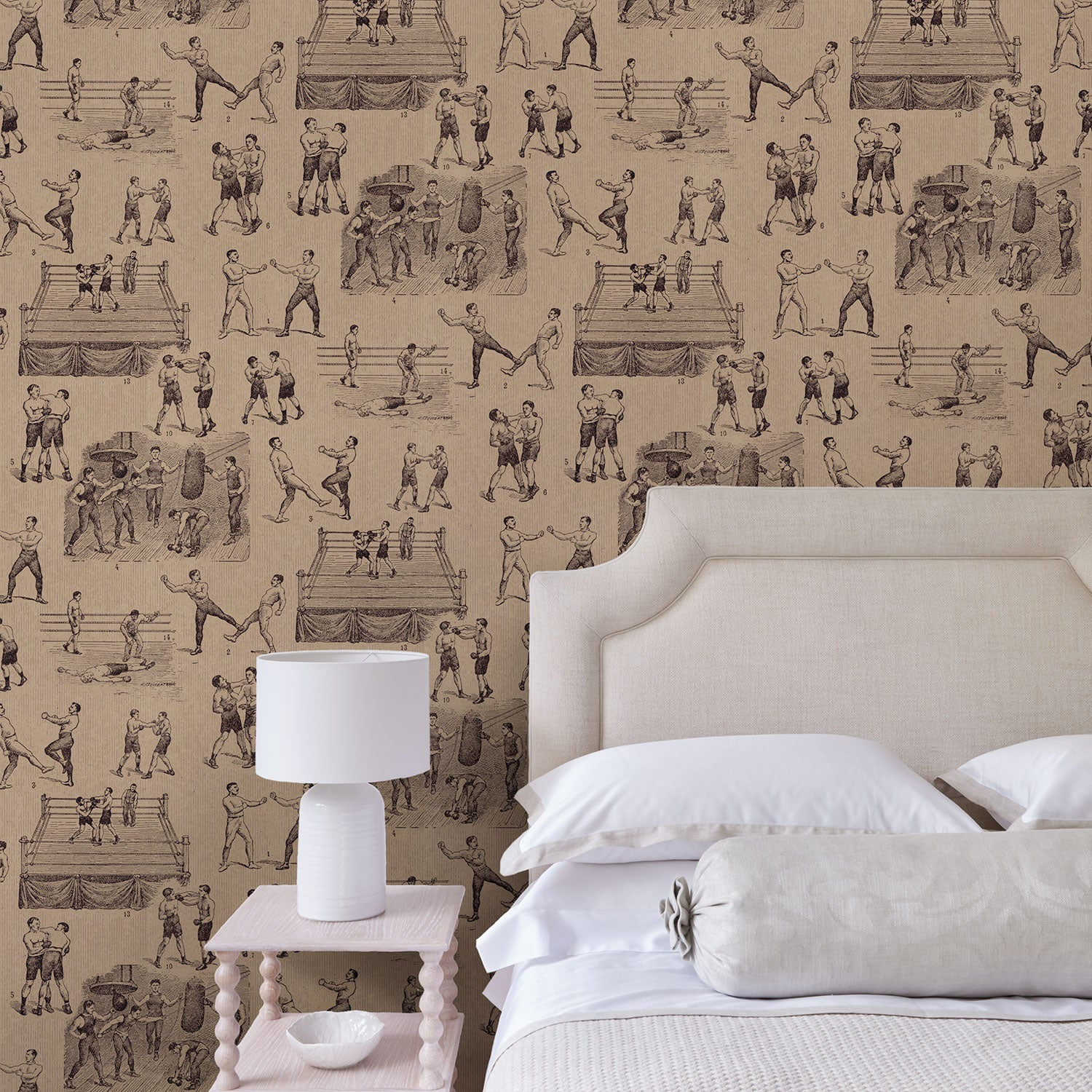 Bedroom featuring a Wallpaper featuring a vintage illustrated boxing scene
