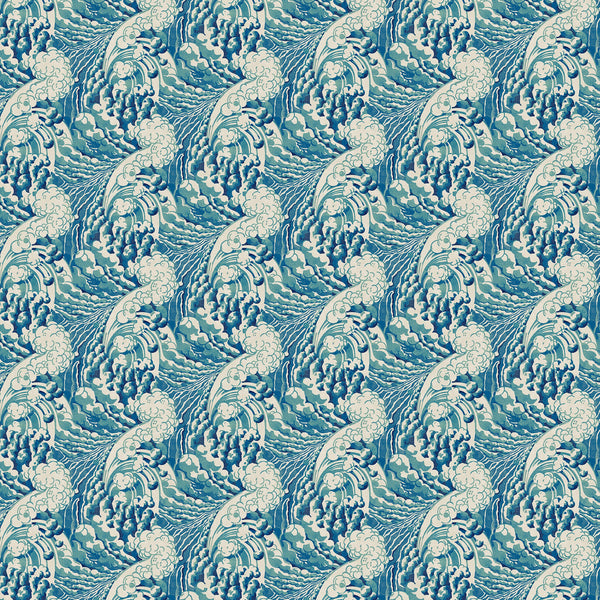 Luxury designer wallpaper featuring a Hokusai-inspired wave design