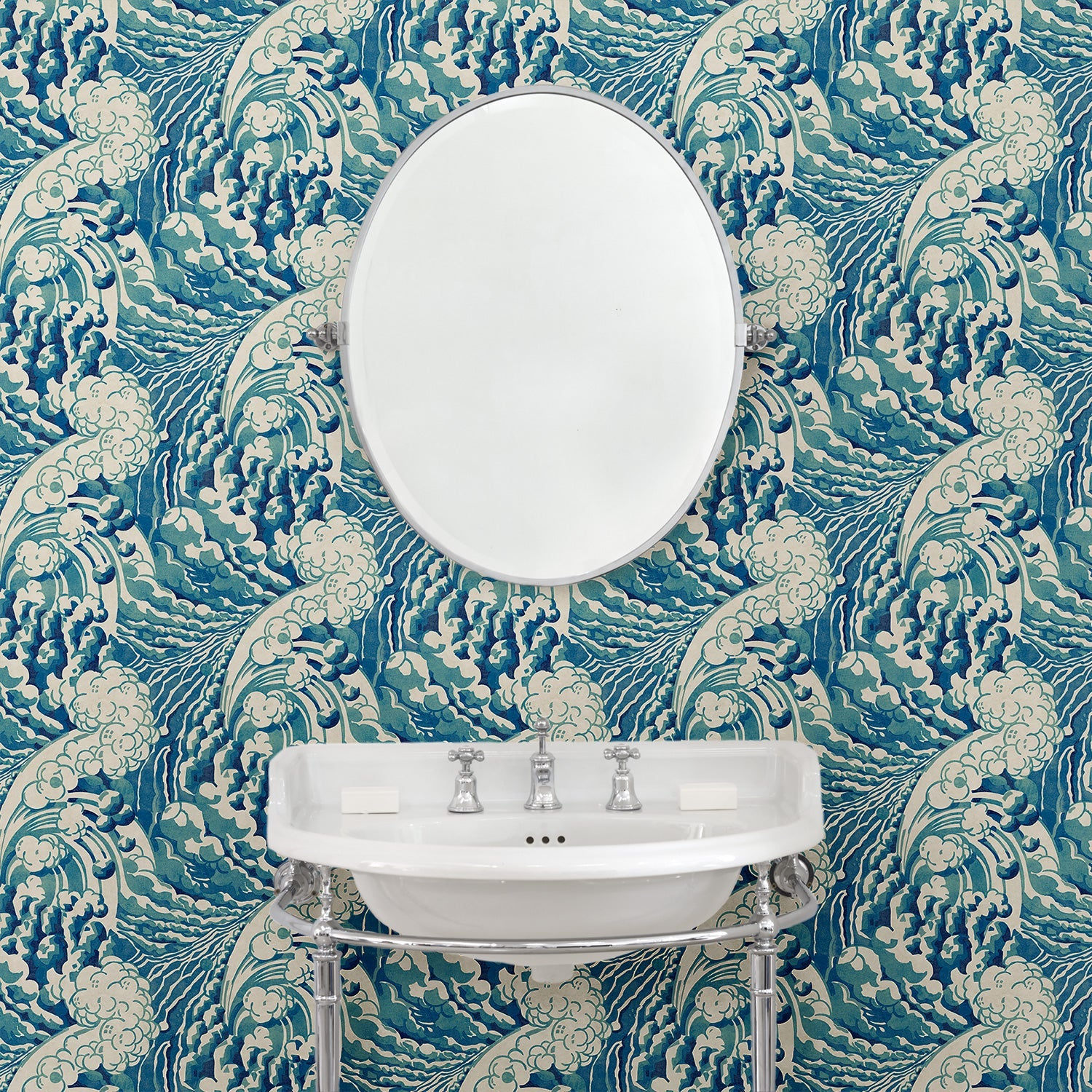 Bathroom featuring a luxury designer wallpaper with a Hokusai-inspired wave design