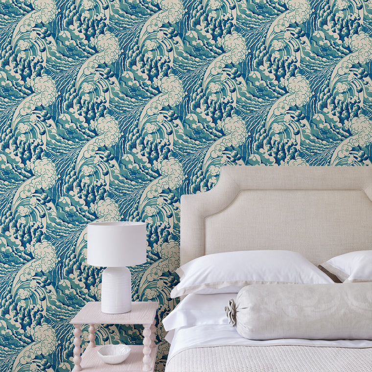 Bedroom featuring a luxury designer wallpaper with a Hokusai-inspired wave design