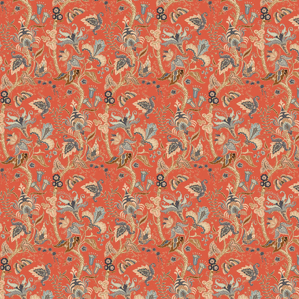 Wallpaper sample of a orange wallpaper with stylised floral design