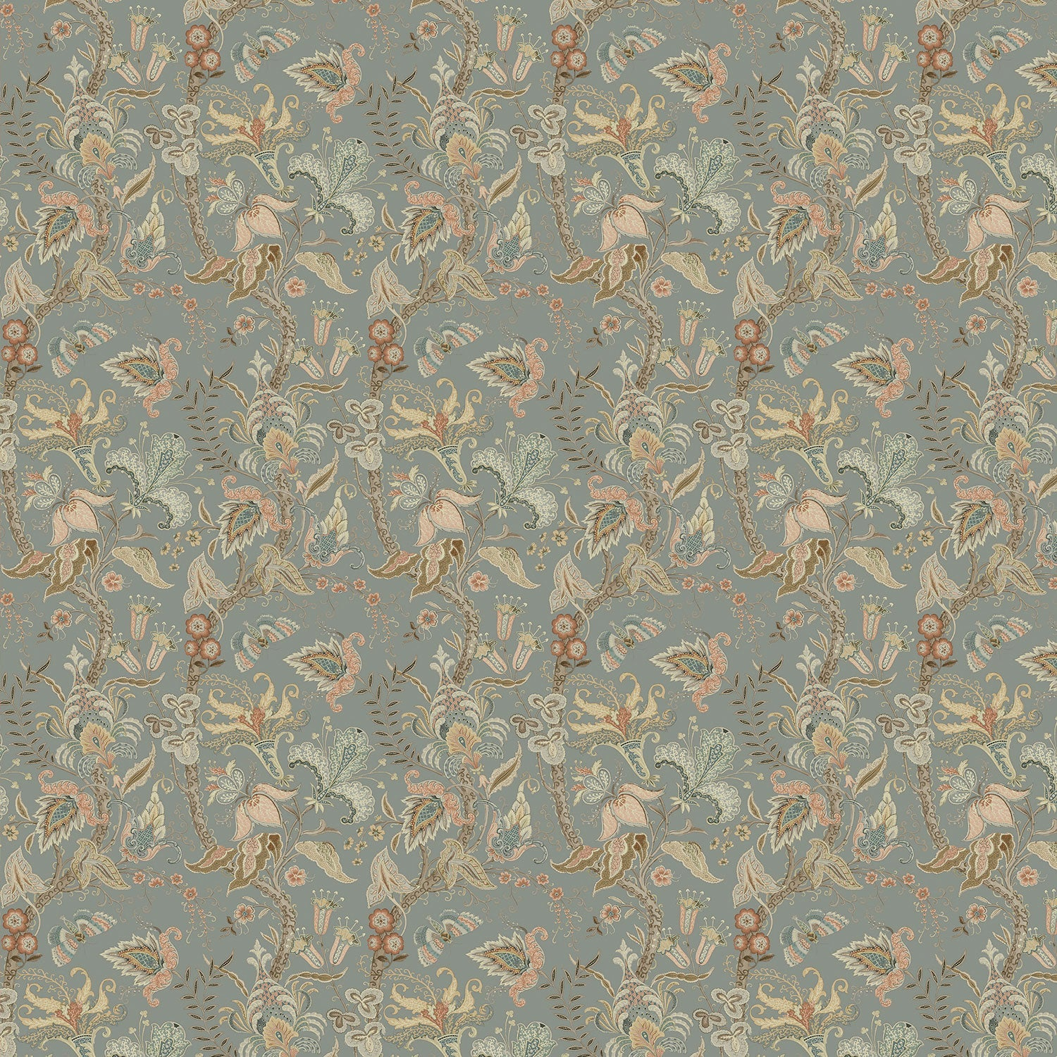 Wallpaper sample of a grey wallpaper with stylised floral design
