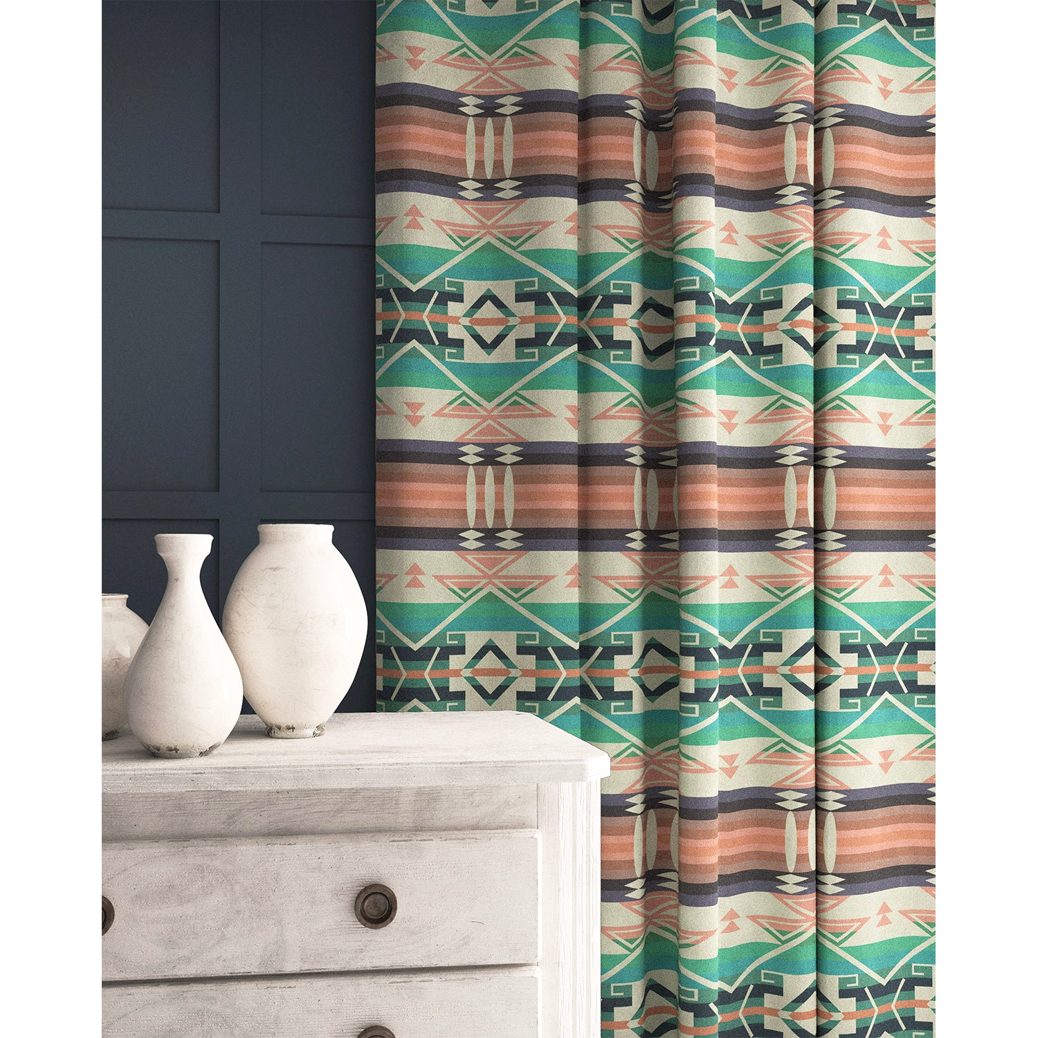 Curtain in a light pastel coloured wool fabric with South American inspired design