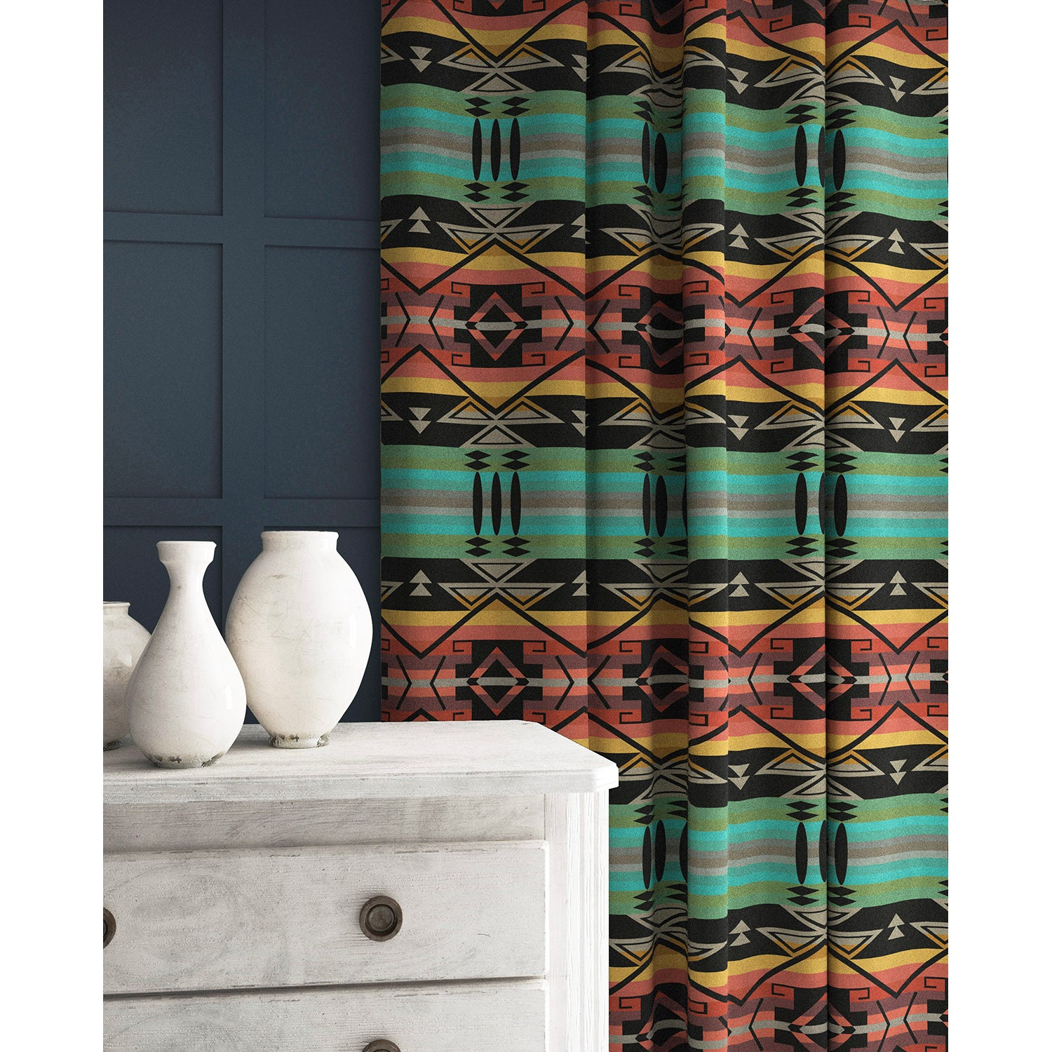 Curtain in a bright coloured wool fabric with South American inspired design