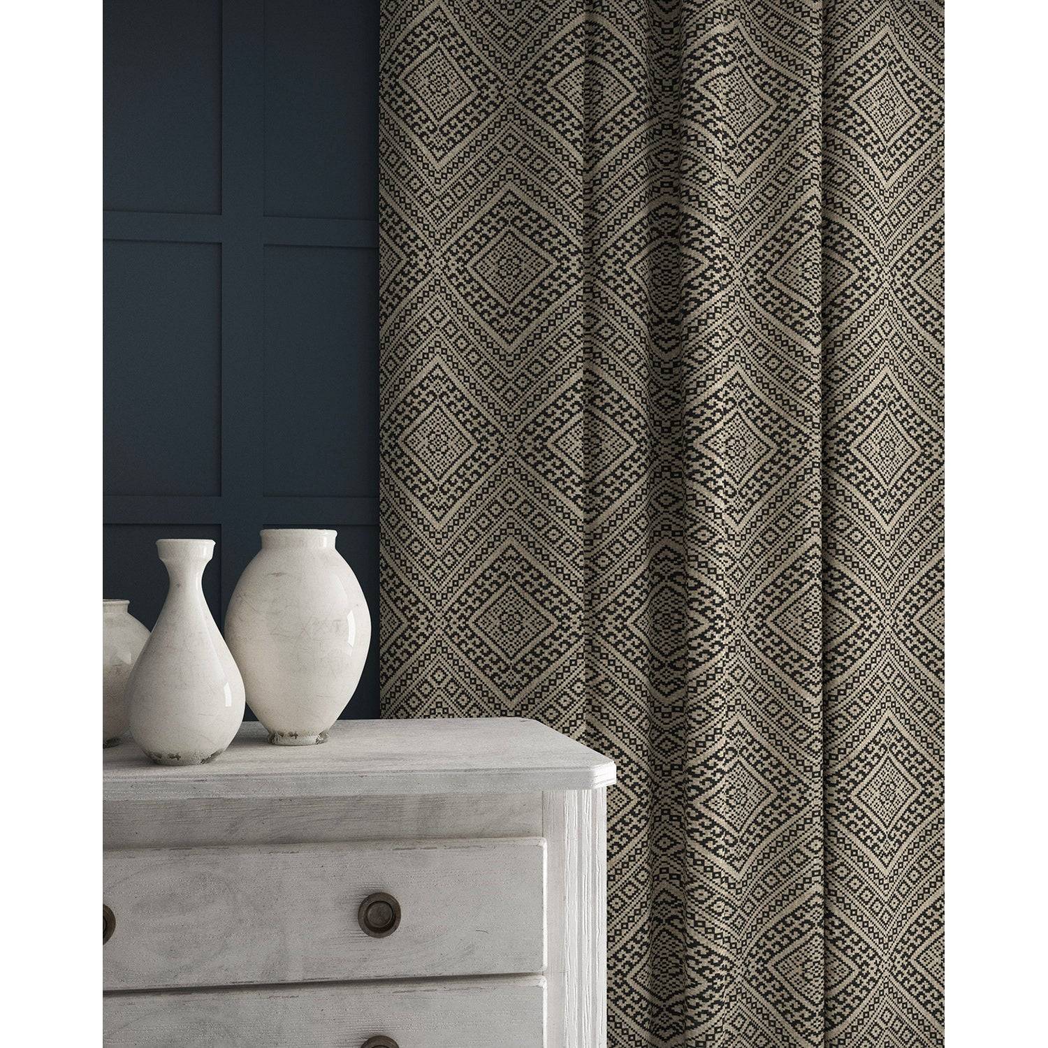 Curtain in a black and neutral coloured geometric wool weave fabric
